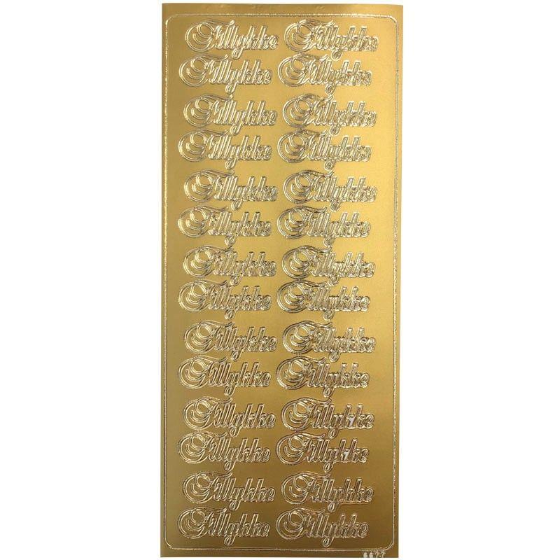 Stickers tekst tillykke guld