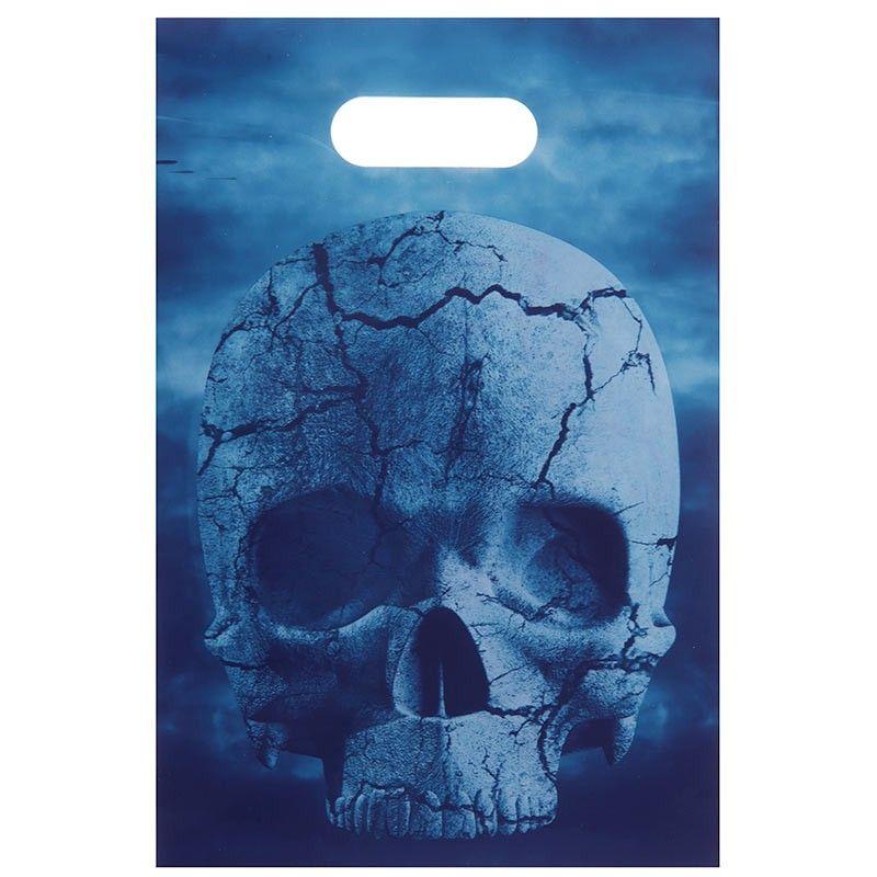 6 stk Slikposer kranie Blue Halloween