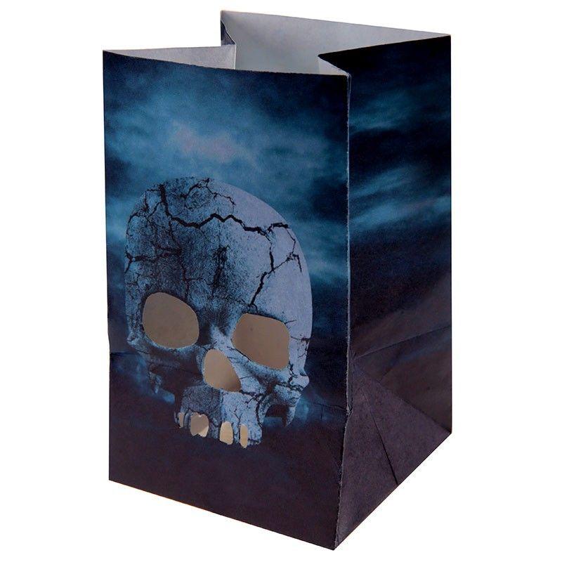 6 stk kranie lysposer Blue Halloween