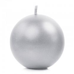 Sølv metallic kuglelys 80 mm