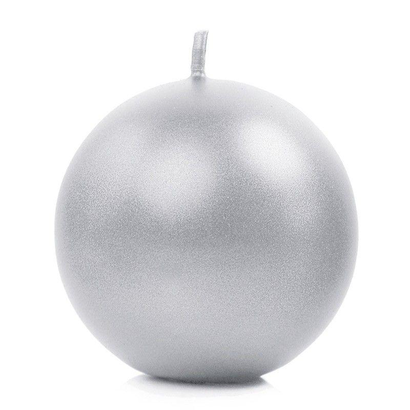 Sølv metallic kuglelys 8 cm. 1 stk