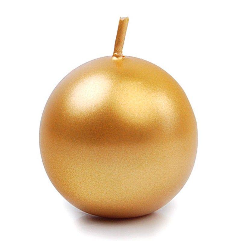 Guld metallic kuglelys 8 cm. 1 Stk