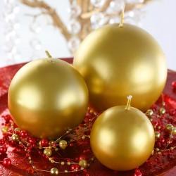 Guld metallic kuglelys 8 cm. til nytår
