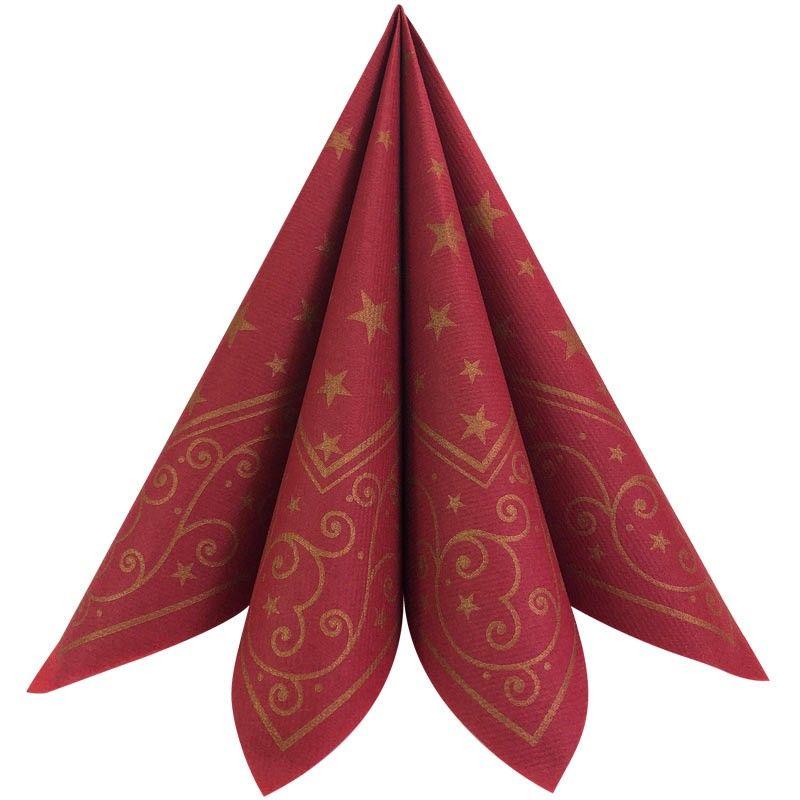 Mørkerød Liam tekstil juleservietter 50 stk