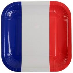 Paptallerkner Fransk flag temafest. 10 stk