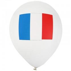 Hvide Balloner med Fransk Flag. 8 Stk