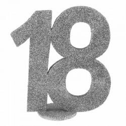 Sølv glimmer Fødselsdagstal 18 År. 1 Stk.