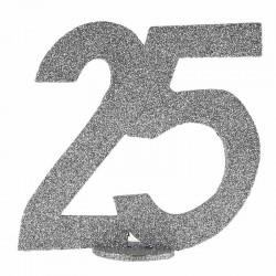 Sølv glimmer Fødselsdagstal 25 År. 1 Stk.