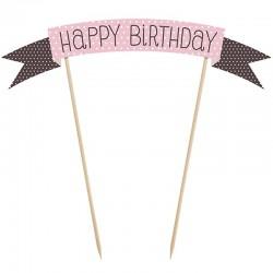 Happy Birthday lyserød tillykke kagepynt 1 stk.