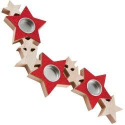 Stjerne fyrfadsstage Rødt Glitter