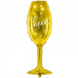 Guld Champagneglas Folie Ballon 28 x 80 cm