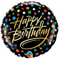 Rund Folie Ballon Sort Happy Birthday