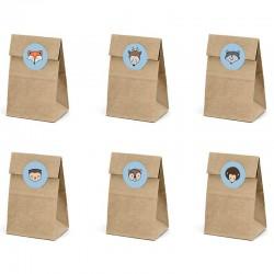 6 Stk små brune gaveposer med dyr lyseblå