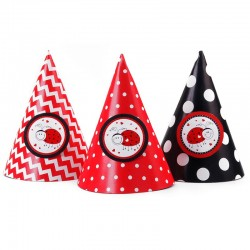 Røde og sorte festhatte mariehøne 6 Stk