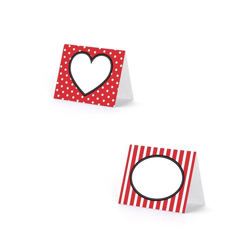 Glaskort røde hjerter. 6 Stk