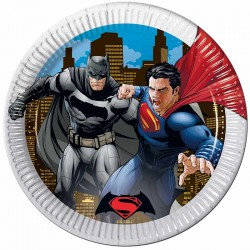 Batman vs Superman paptallerkner. 19,5 cm. 8 stk