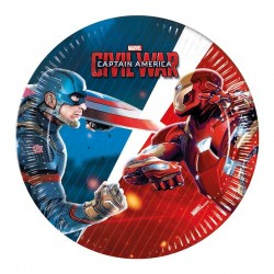 Captain America Civil War. paptallerkner. 19,5 cm 8 stk