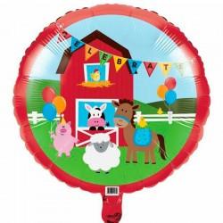 Rund folieballon bondegård 45 cm