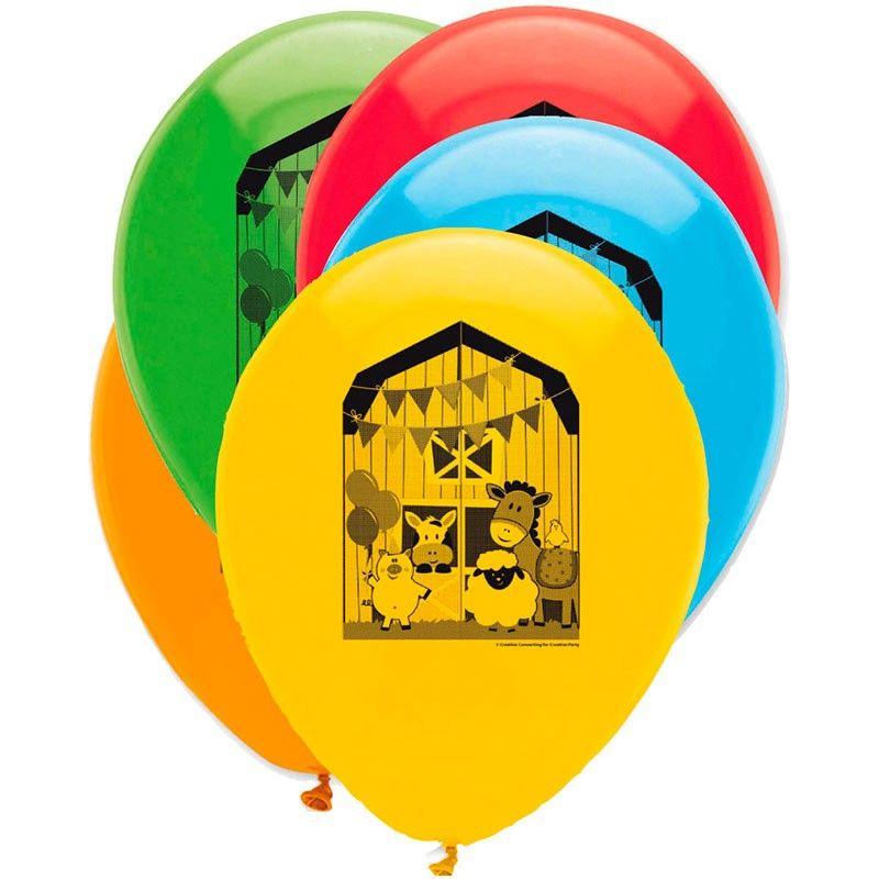 6 stk farvede balloner bondegård