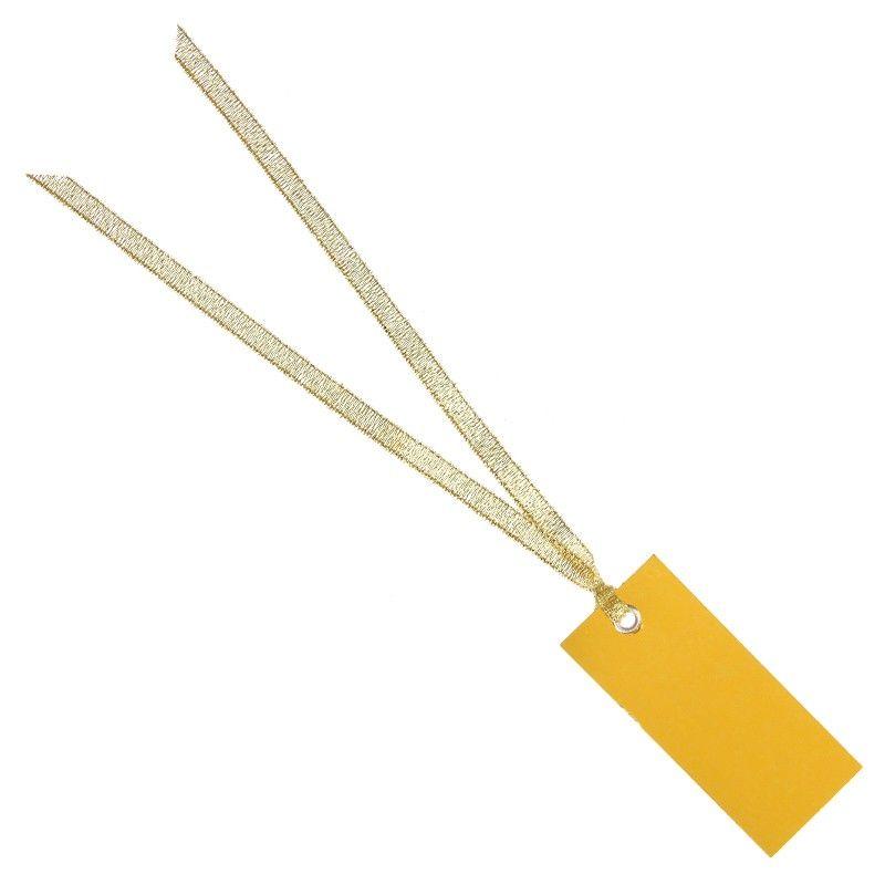 Guld bordkort med satinbånd 12 stk.