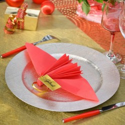 Guld bordkort med satinbånd til guldbryllup.