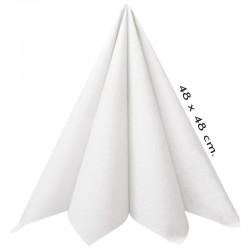 Hvide tekstilservietter 48 x 48 cm. 50 stk