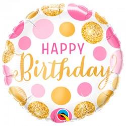 Rund folie ballon prikker Happy Birthday