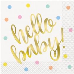 Servietter Hello Baby guld. 33x33 cm. 16 stk
