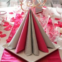 Pink middagsserviet Elegance