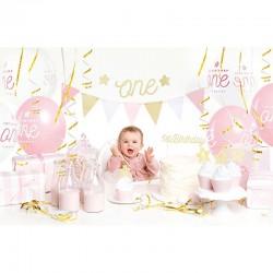 Party boks til 1 års fødselsdag med 33 dele til pige fødselsdagen