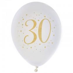 30 års fødselsdagsballoner 8 stk