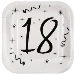 Hvide 18 års fødselsdag paptallerkner 10 stk