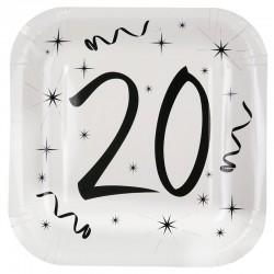 Hvide 20 års fødselsdag paptallerkner 10 stk