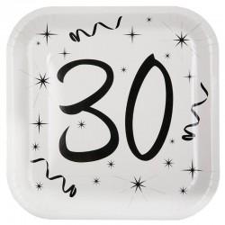 Hvide 30 års fødselsdag paptallerkner 10 stk