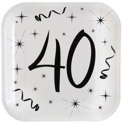 Hvide 40 års fødselsdag paptallerkner 10 stk