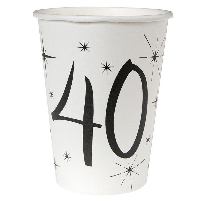 Hvide 40 års fødselsdag papkrus 10 stk