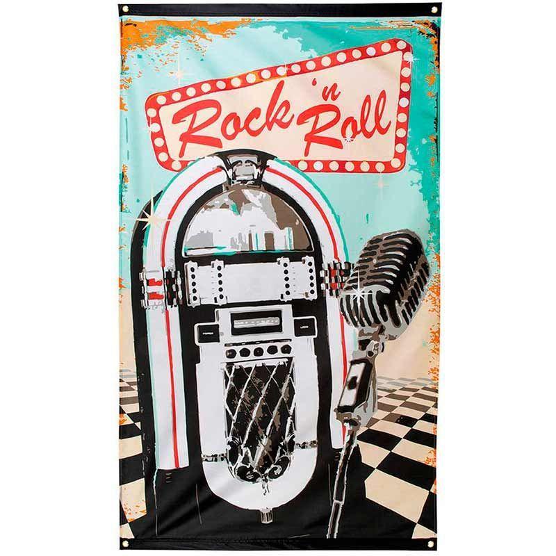 Rock 'n Roll. Flag. 150 x 90 cm.