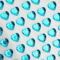 Selvklæbende turkis hjerte rhinsten