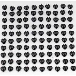 Selvklæbende sorte hjerter perlemor 100 stk