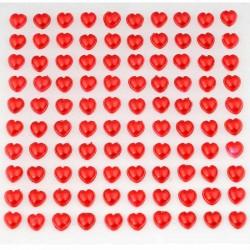 Selvklæbende Røde hjerte rhinsten. 100 stk.