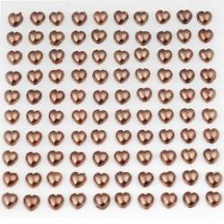 Selvklæbende brun hjerter perlemor 100 stk