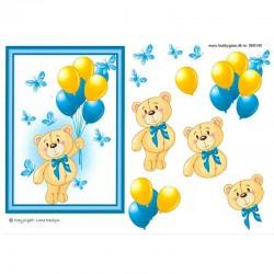 3D ark bamse og balloner blå