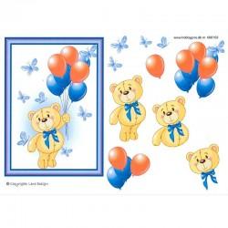 3D ark bamse og balloner lilla