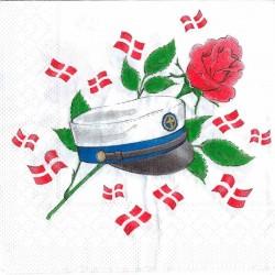 Frokostserviet blå hue og rød rose