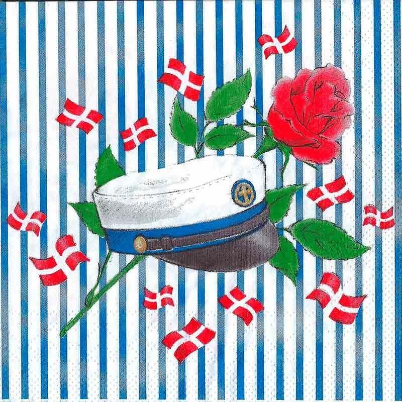Studenter servietter blå hue og blå striber.