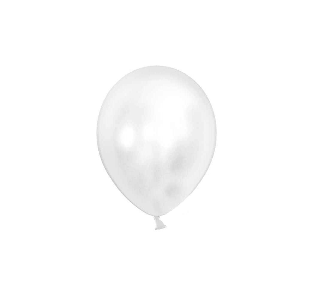 Balloner metallic hvid. 50 Stk.