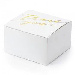 Hvid gaveæske Thank you guld. 10 stk