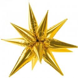 3D Guld stjerne folie ballon 95 cm