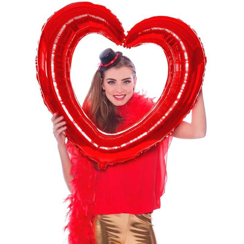 Folie ballon Hjerte selfie ramme rød - 1 stk