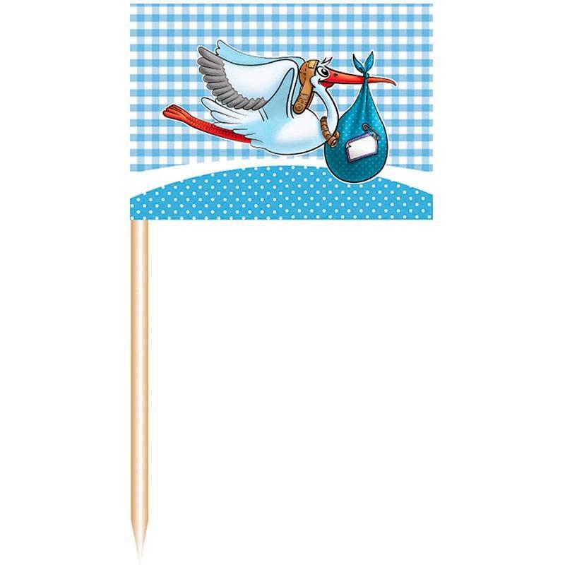 Lyseblå kageflag til pindemadder